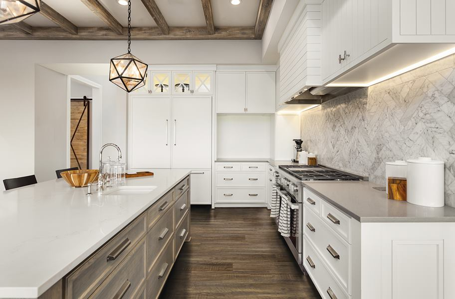 vinyl plank flooring in white kitchen
