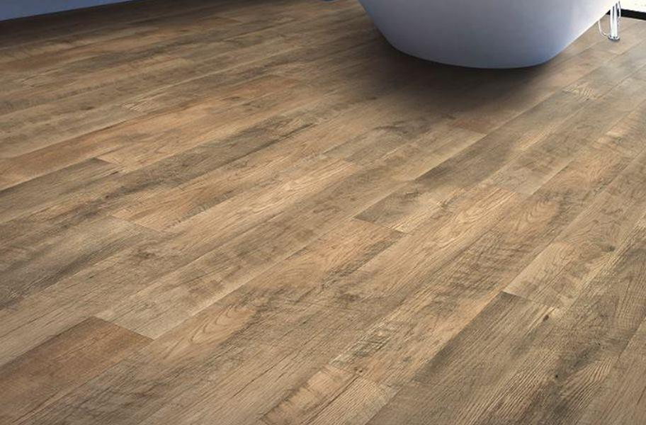 Distressed wood-look bathroom flooring planks