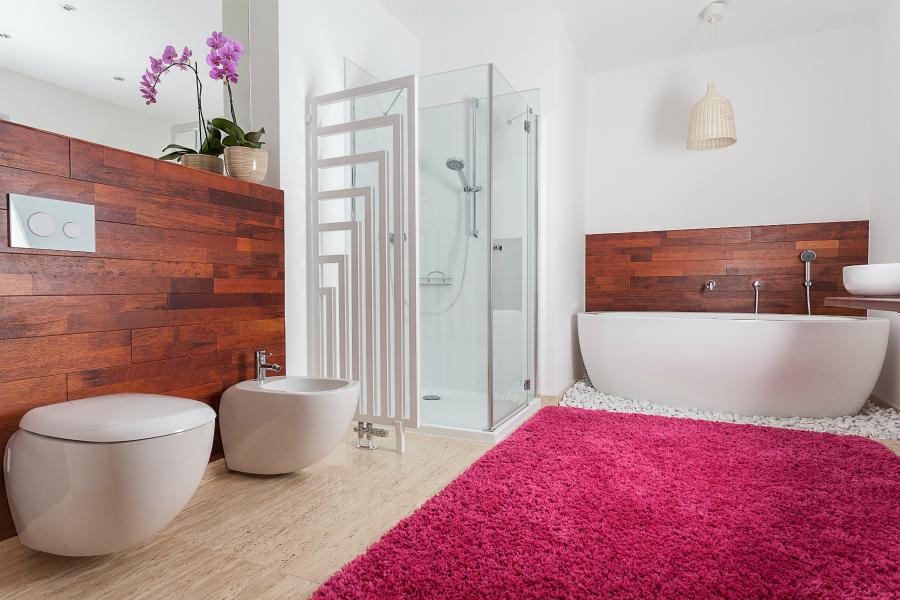 Contemporary bathroom with waterproof carpet bathroom flooring