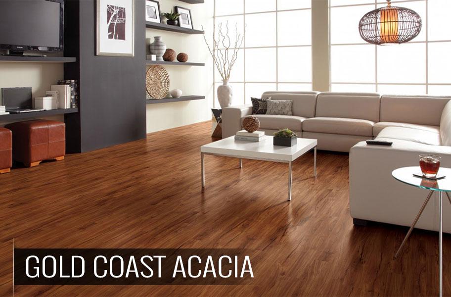 Wood-look luxury vinyl flooring in living room