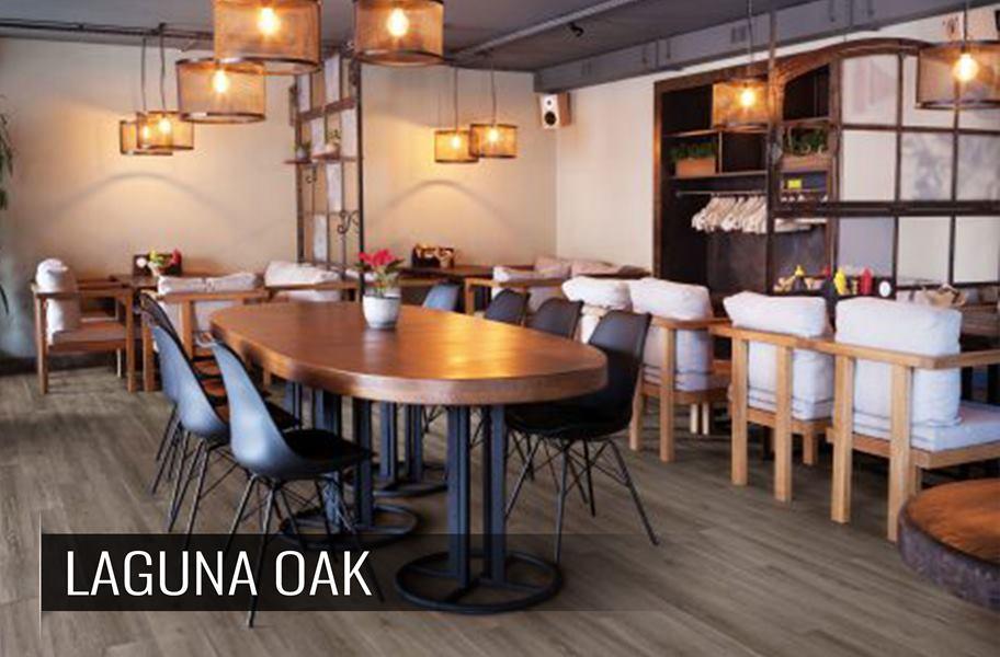 Gray rigid core luxury vinyl flooring in commercial setting
