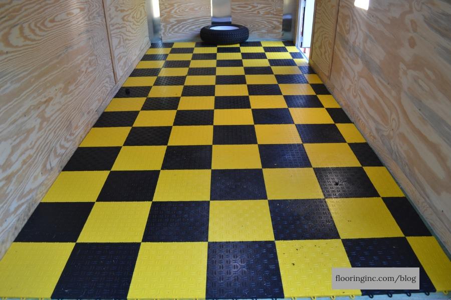 FlooringInc Diamond Grid-Loc Tiles installed as trailer flooring