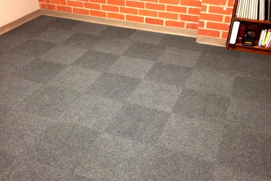 FlooringInc Premium Hobnail Carpet Tiles laid out in room