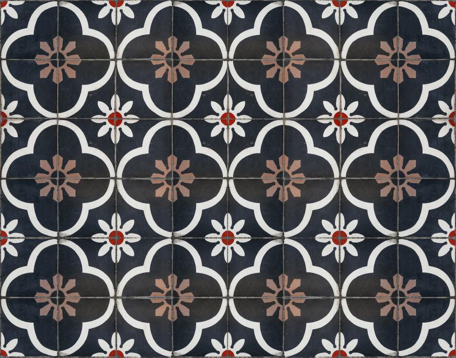Floral patterned bathroom flooring tiles