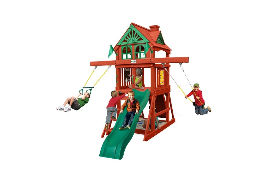 Children playing on a Gorilla Playsets playground.