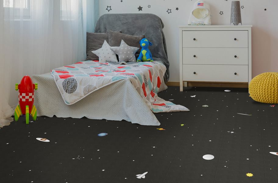 Space vinyl floor tiles in kid's room