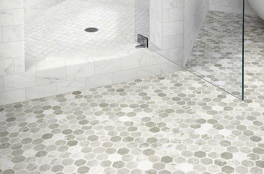 Gray subway tile bathroom flooring