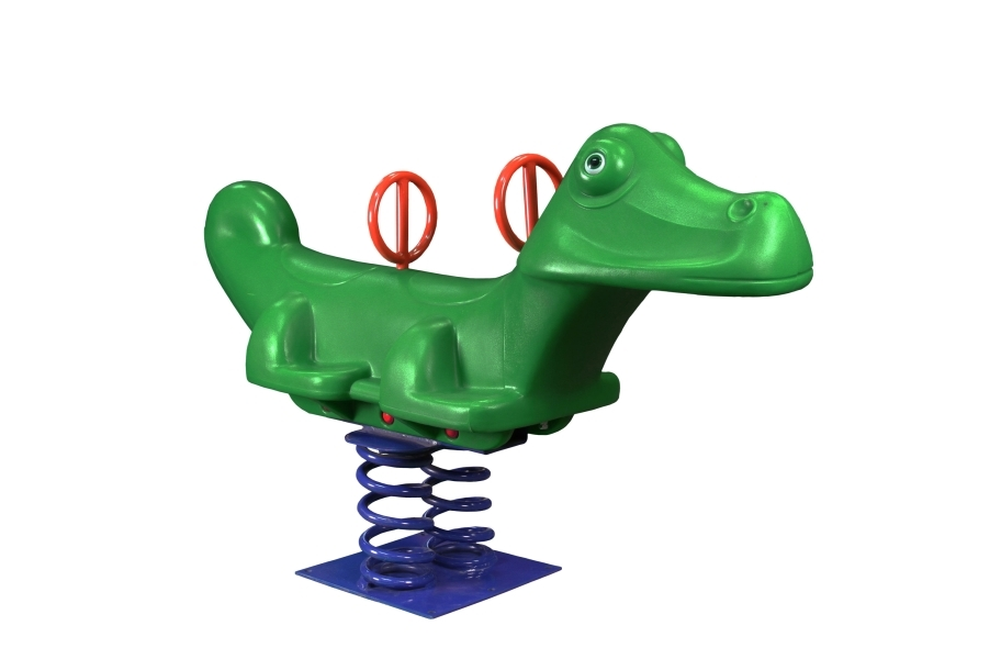 Close up image of green alligator bouncy horse/spring rider for playgrounds.