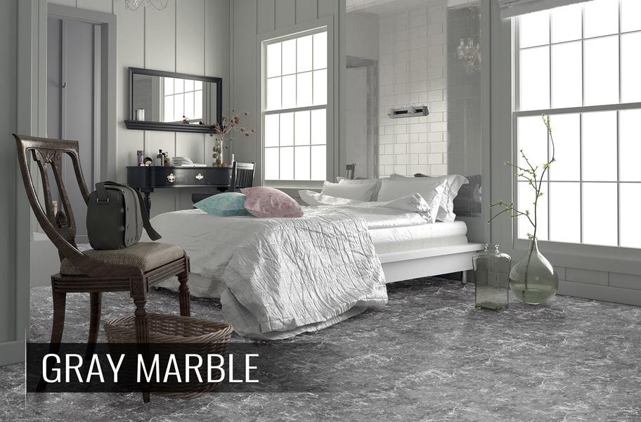 Gray marble-look luxury vinyl floor tiles in bedroom