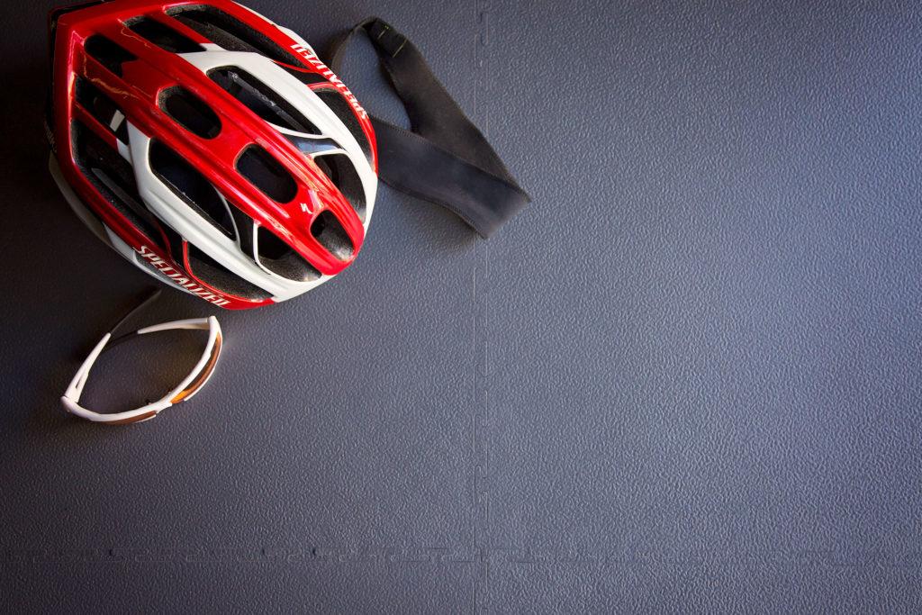 FlooringInc 7mm Textured Flex Tiles with sports helmet