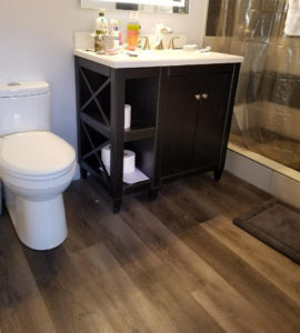 "COREtec 7"" Waterproof Vinyl Planks in bathroom"