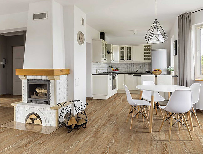 FlooringInc 2019 Flooring Trends - vinyl flooring in dining room setting
