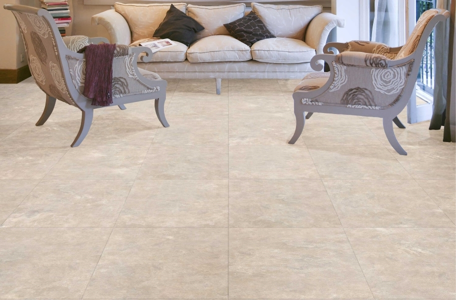 FlooringInc 2020 vinyl flooring trends: large vinyl tile in a living room setting