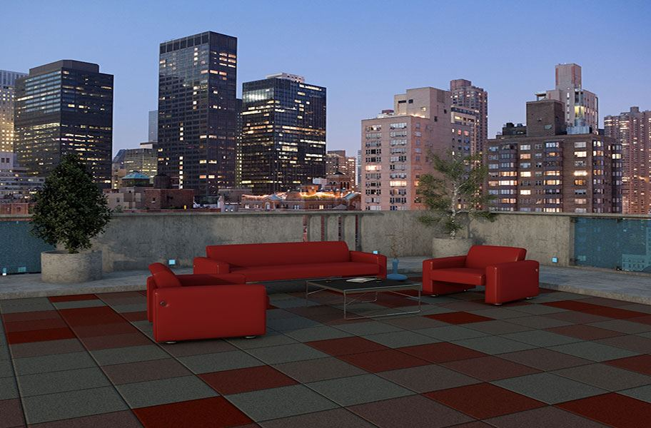 Rubber tiles as rooftop flooring with skyline in background