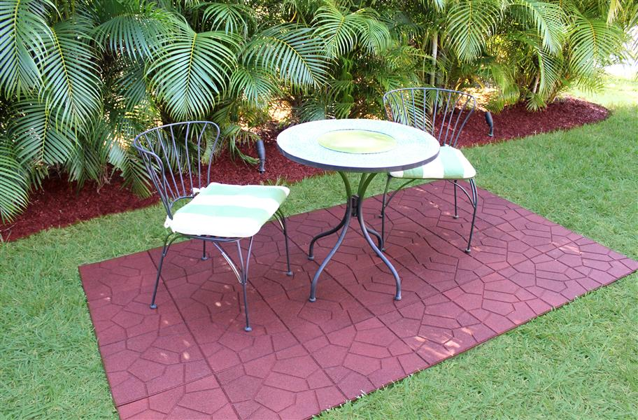 Flagstone rubber pavers under a table and chairs