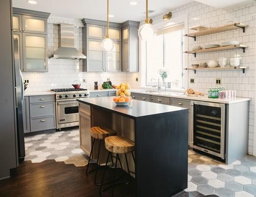 FlooringInc 2020 tile flooring trends: hexagon tile transition in a kitchen