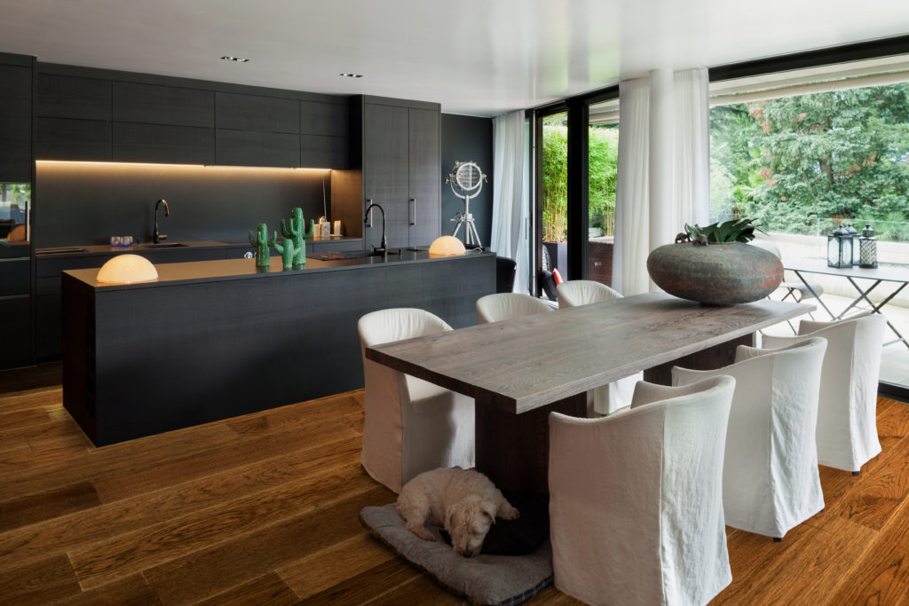 Dining room and kitchen area with waterproof engineered hardwood flooring