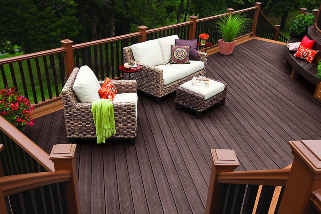 Wood-look composite decking in a residential setting