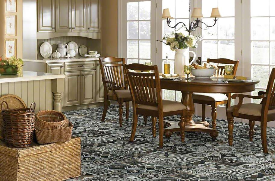 2020 flooring trends: FlooringInc Patchwork tile flooring in a kitchen setting