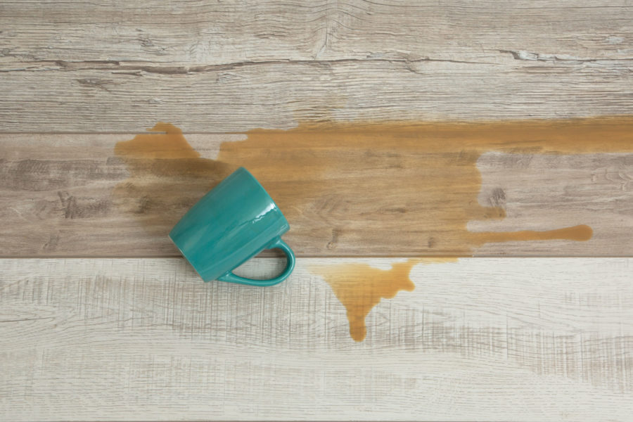 Waterproof laminate flooring with coffee mug spill