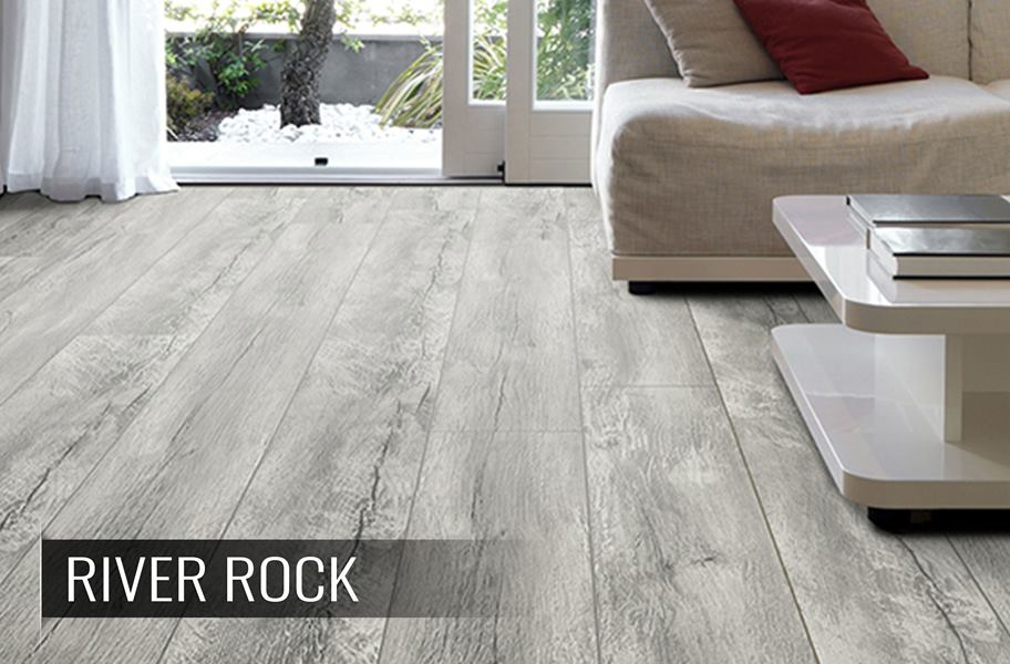 TimberCore Laminate flooring in gray color living room setup