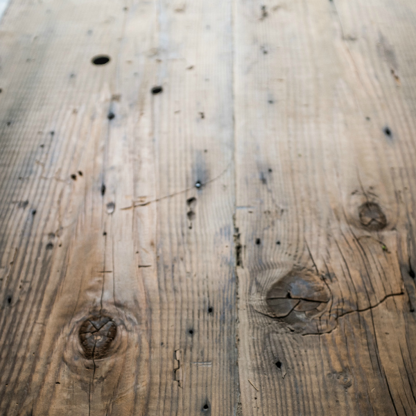Close-up of reclaimed wood floor texture