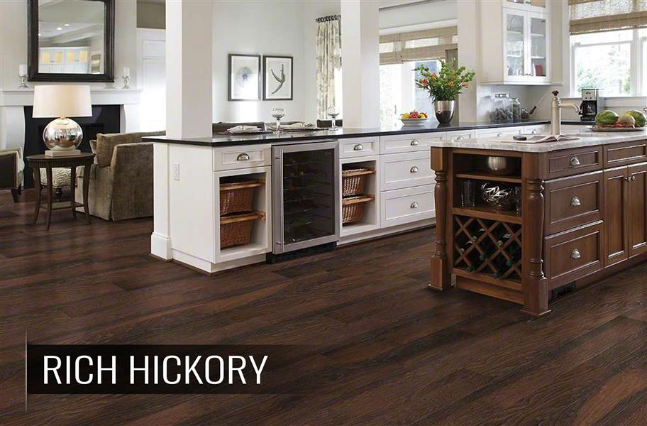 Shaw espresso laminate flooring in kitchen setup
