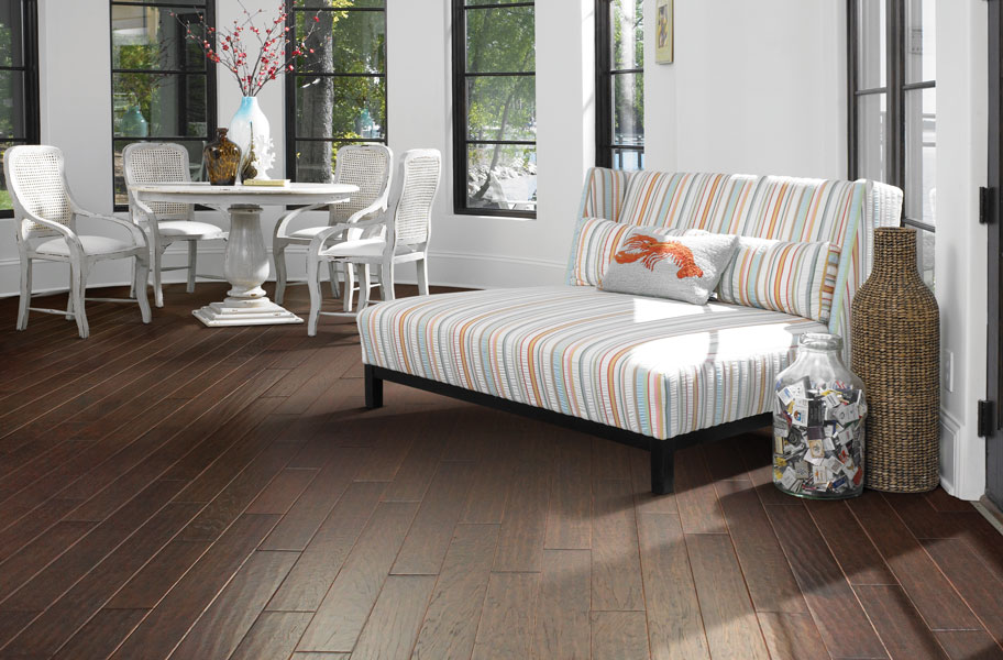 FlooringInc Engineered Kingwood hardwood flooring in sunroom setting
