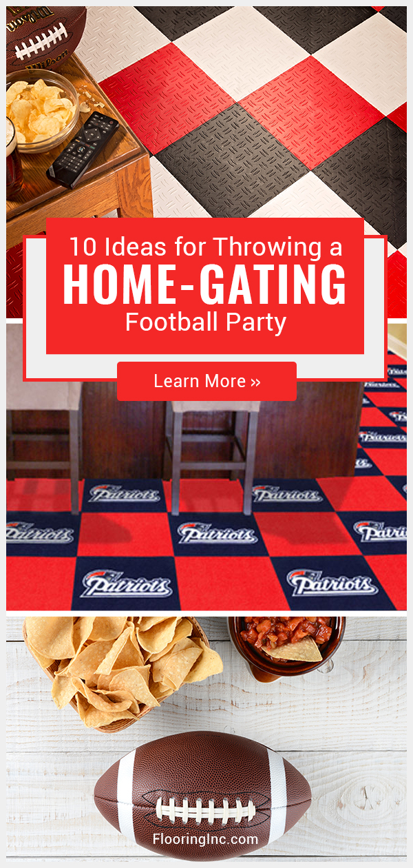 Throw a football-themed party your guests won't forget with football-spirited drinks, food and DIY decor. #flooringinc #diypartyideas #footballparty #biggame
