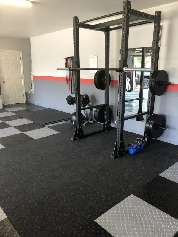 Flooring Inc Strong Rubber Tiles in garage gym setting