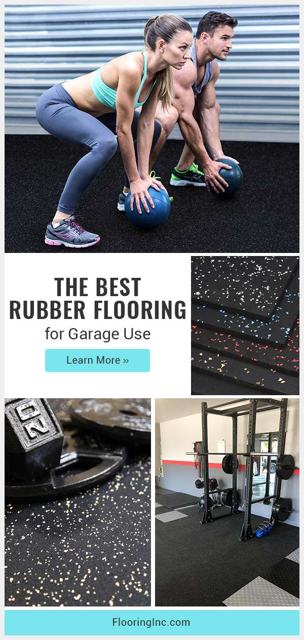 Rubber garage flooring is the perfect solution to turn your garage into the home gym of your dreams! This guide has everything you need to know to find rubber flooring that's meant for garage use. #flooringinc #garageflooring #rubberflooring #homegymflooring #garagegym