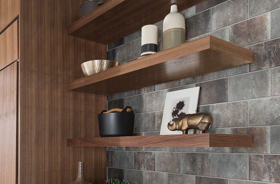 Wood grain open shelving and cabinets
