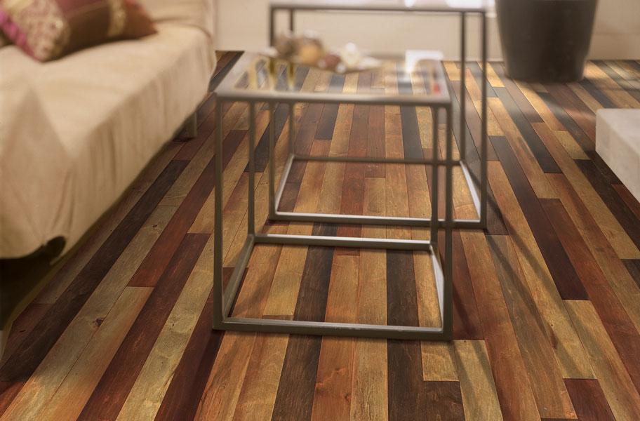 High variation wood flooring in living room setting