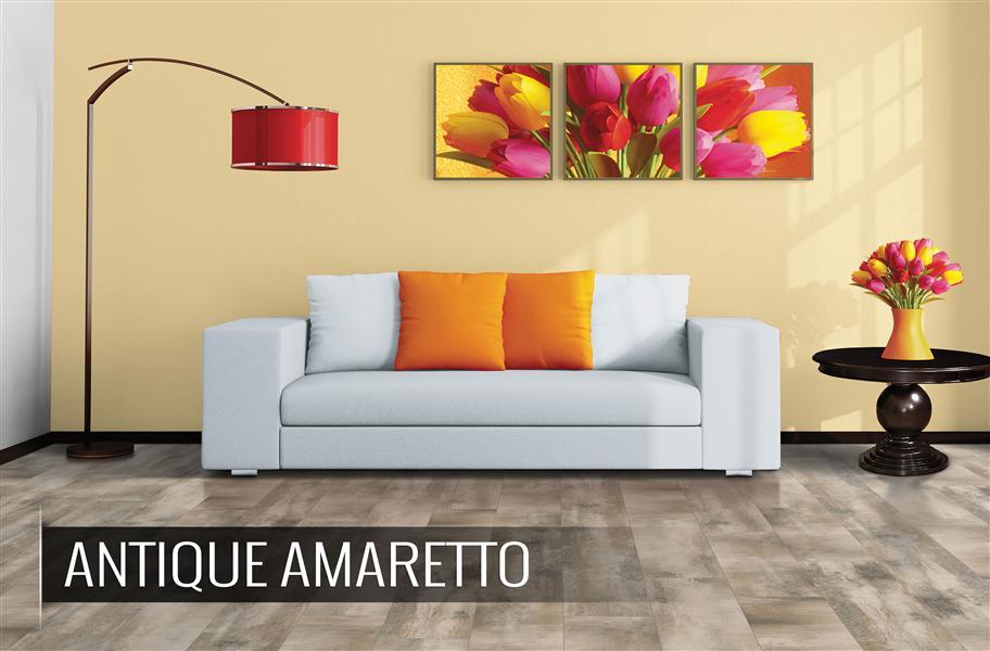 High variation tile flooring in living room setting