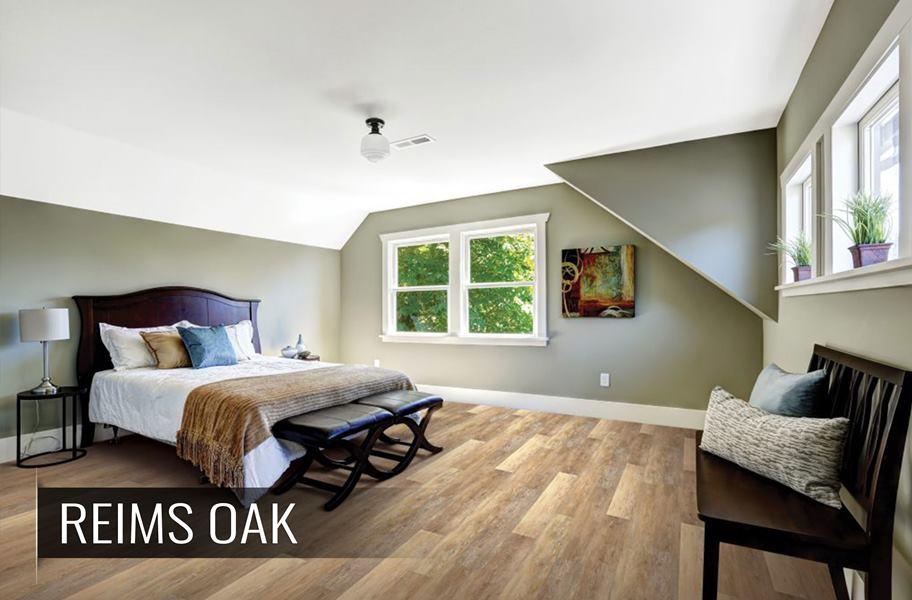 High variation vinyl flooring in bedroom setting