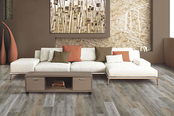 High variation vinyl flooring in living room setting