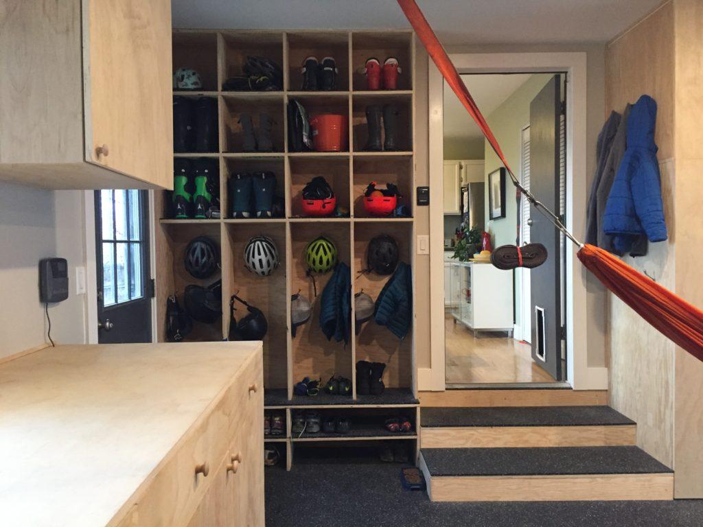 garage with storage cubbies