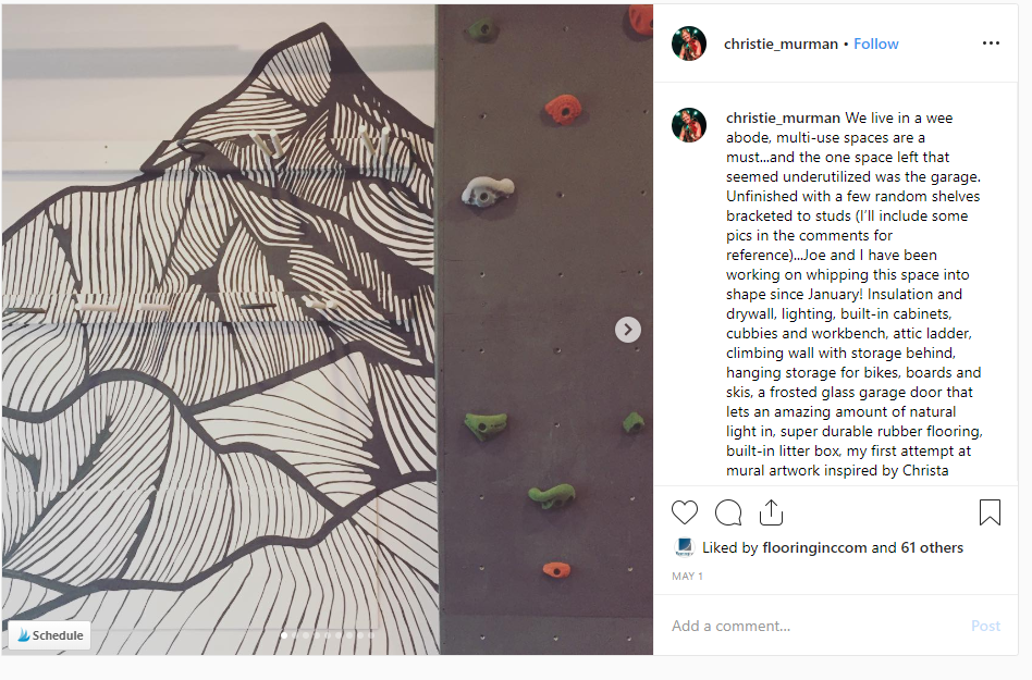 Instagram post of a bouldering wall