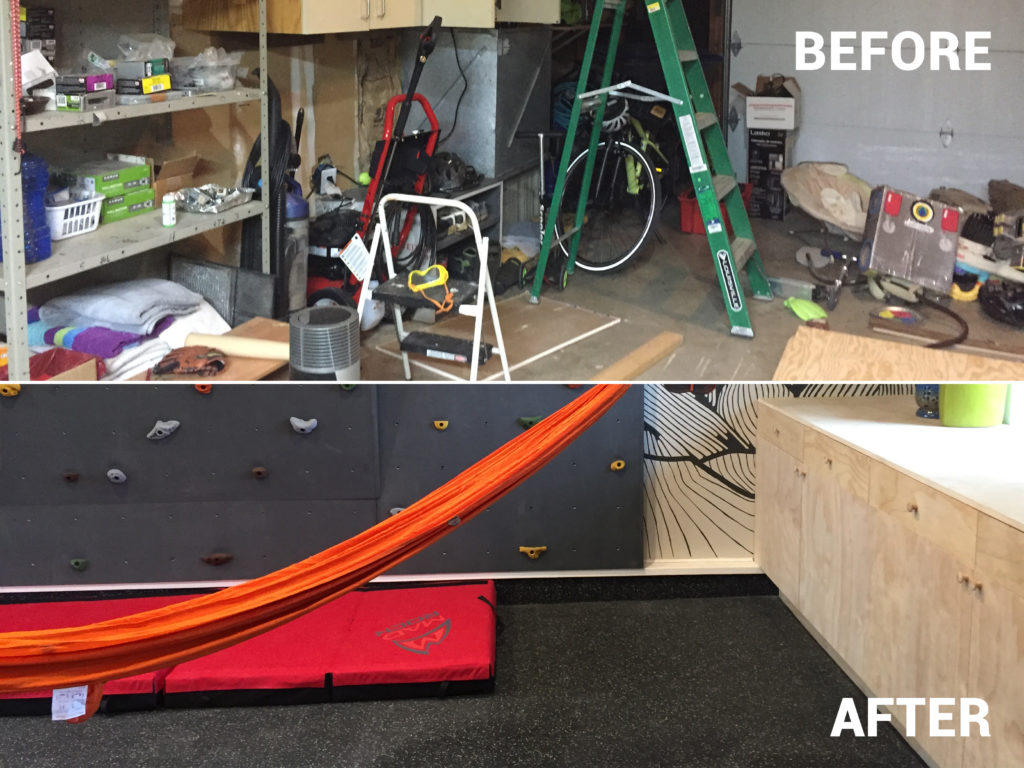 Before and after pictures of garage renovation