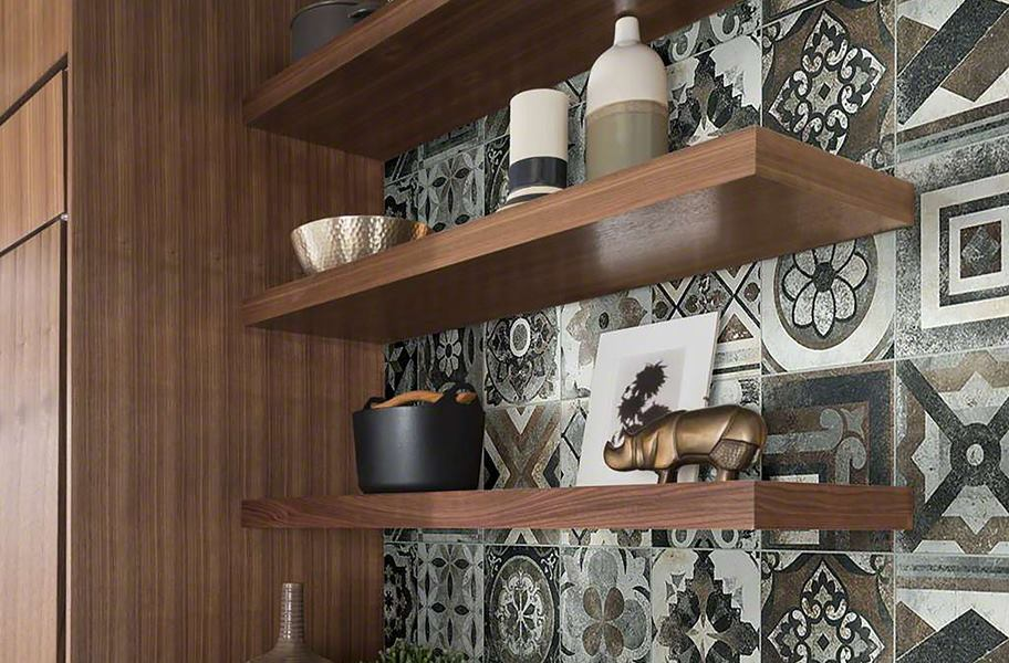 matte patterned wall tiles in kitchen