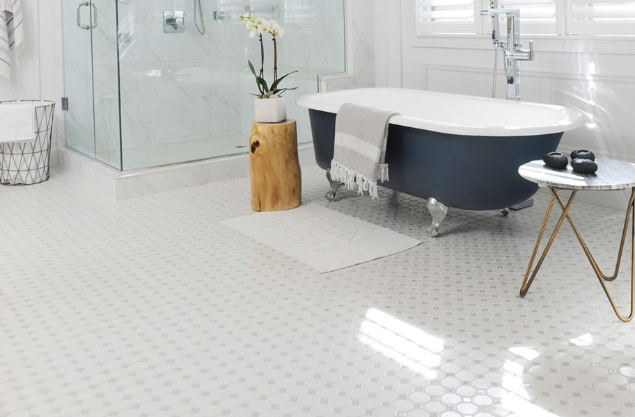 white hexagon floor tile in bathroom