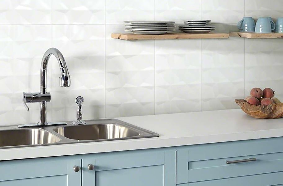 Wall tile trends: White 3-D tile in a kitchen backsplash