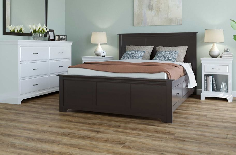 vinyl flooring in bedroom with dark bedframe and white drawers