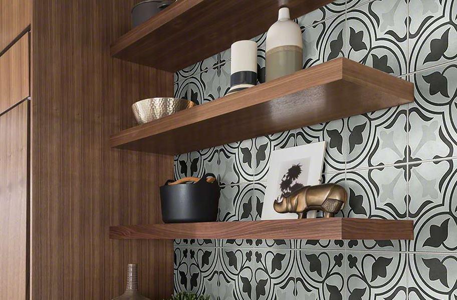 patterned wall tile behind kitchen shelves