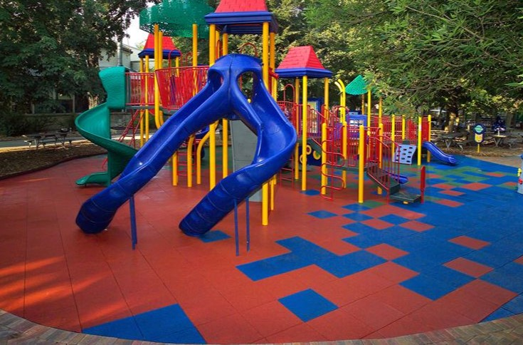red and blue playground tiles