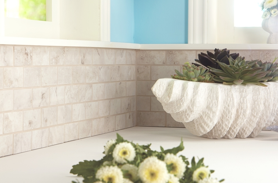 Stone-look matte finish backsplash wall tile