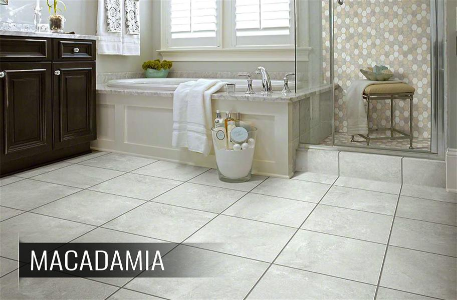 Groutable vinyl tiles in a bathroom