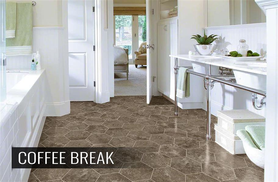 FlooringInc bathroom flooring options example: Luxury bathroom with hexagon tile floors.