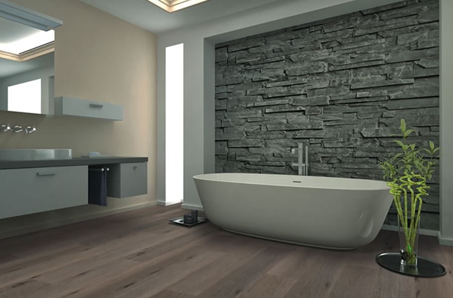 FlooringInc bathroom flooring options example: Bathroom with SPC waterproof vinyl plank flooring.