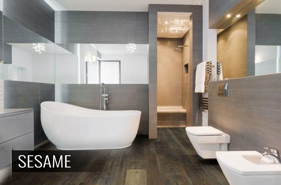 Luxury bathroom with waterproof vinyl plank flooring